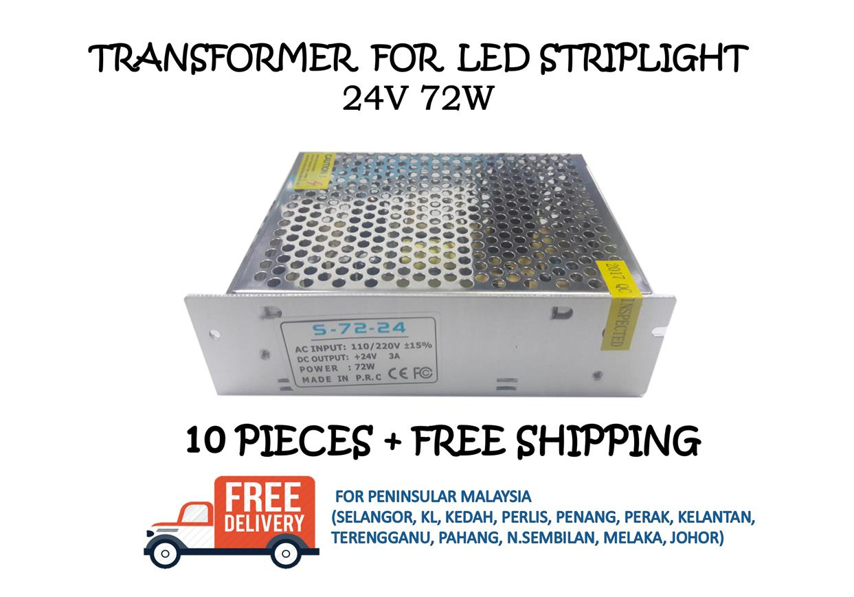 POWER SUPPLY / TRANSFORMER 24V 72W - 10 PIECES + FREE SHIPPING
