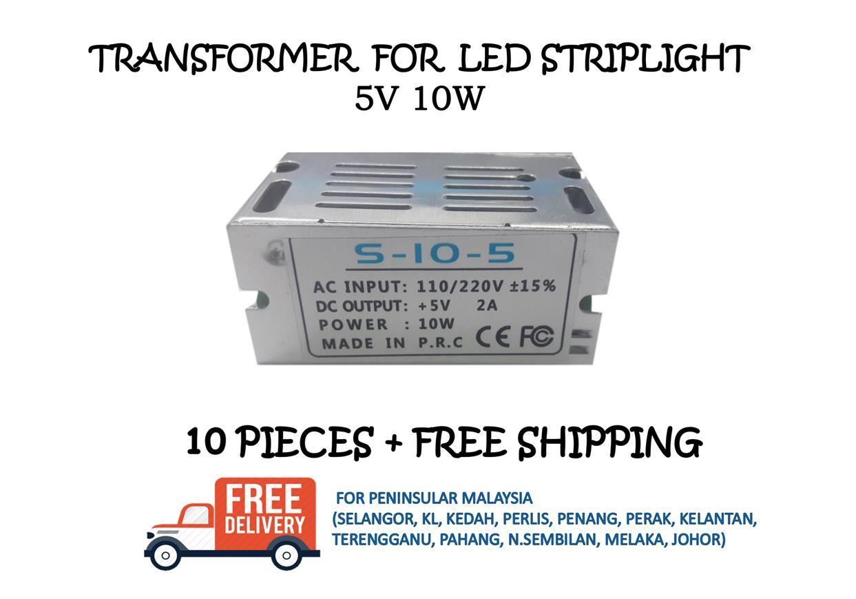POWER SUPPLY / TRANSFORMER 5V 10W - 10 PIECES + FREE SHIPPING
