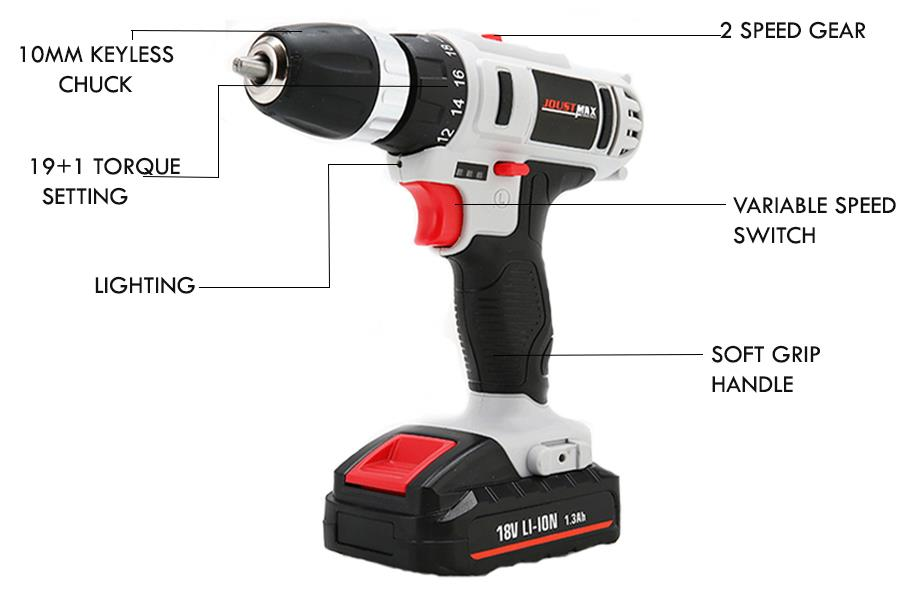 Power Tools Professional Cordless Drill Battery Recharge Li-Ion 18/12V