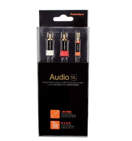 POWERSYNC 3.5MM STEREO PLUG TO 2XRCA PLUG AUDIO CABLE GOLD 1.5M