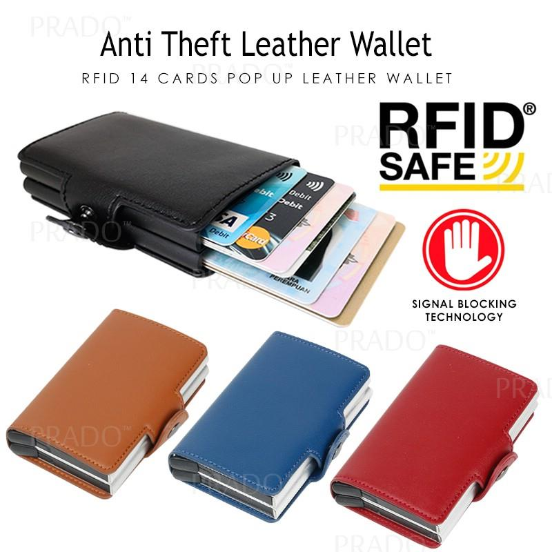 release date 0da74 7247f PRADO Anti Theft RFID 14card Leather Metal Wallet Credit Card Holder C