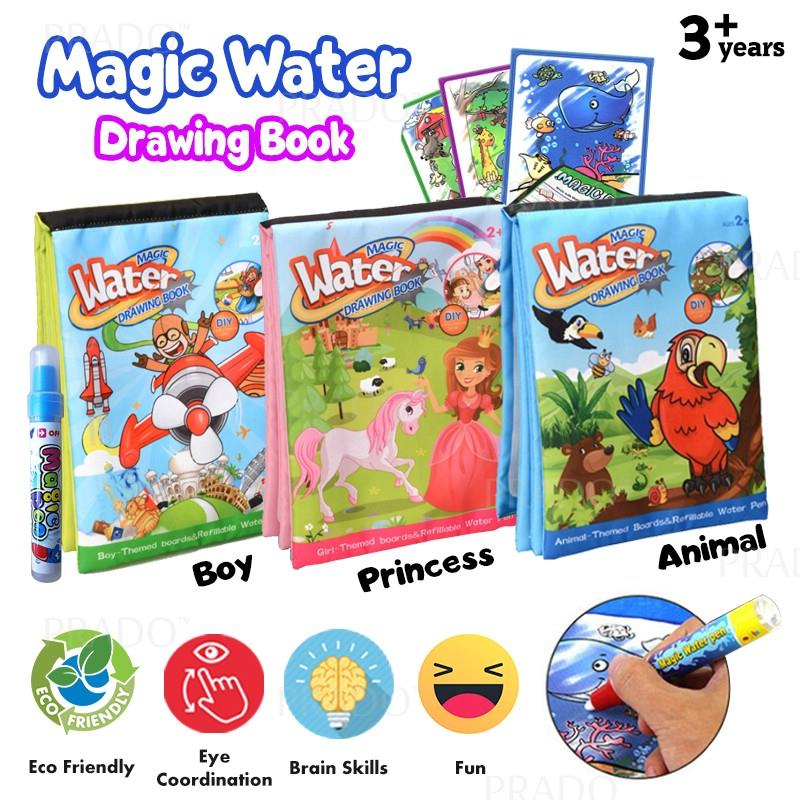 PRADO Reusable Magic Water Colouring Book Soft Fabric with Drawing Pen