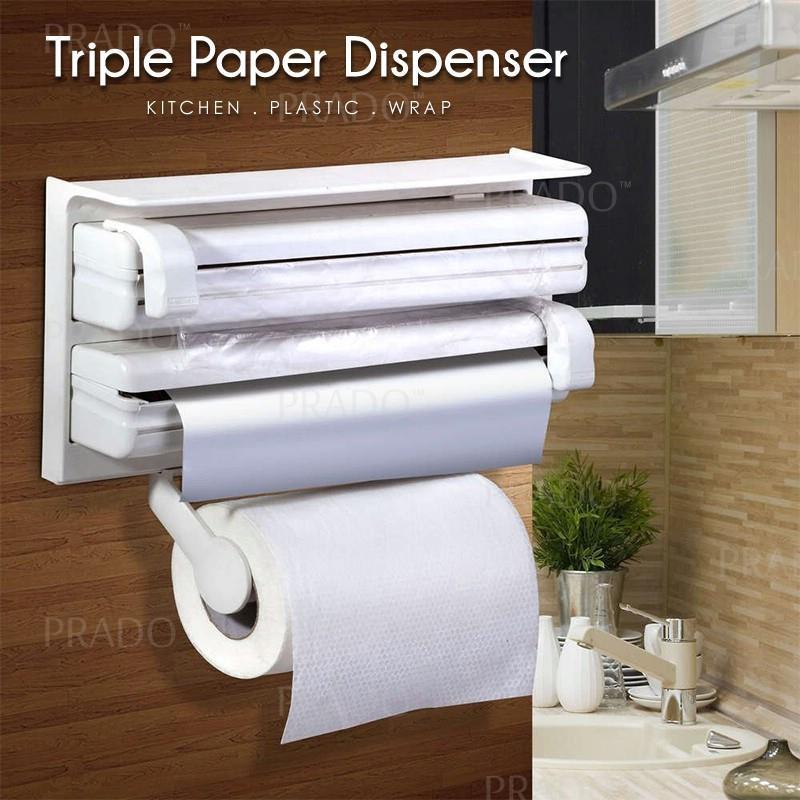 Prado Triple Paper Roll Dispenser Kitchen Wall Mounted Towel Holder Cl