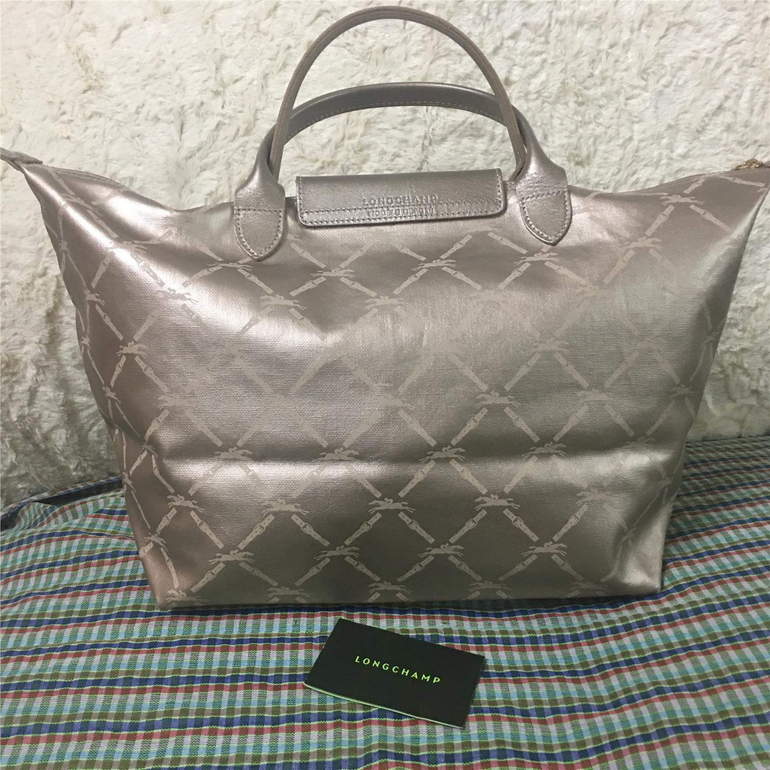Pre-loved - Longchamp 'Le Pliage' Large Printed Rose Gold Tote