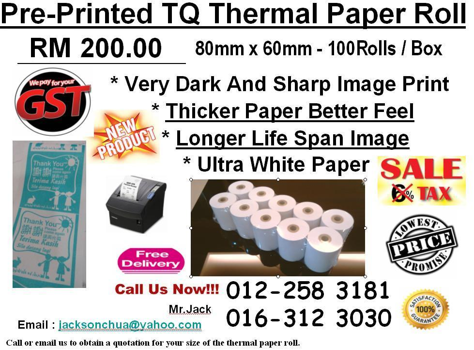 Pre-Printed TQ Thermal Paper Roll 80mm Free Delivery