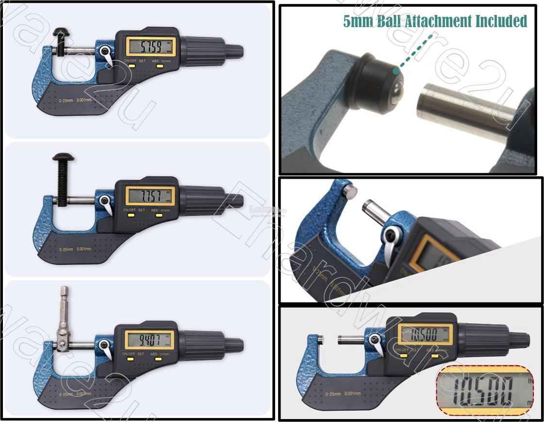 Precision Electronic Digital Micrometer 0-25mm x 0.001mm (64VC630)