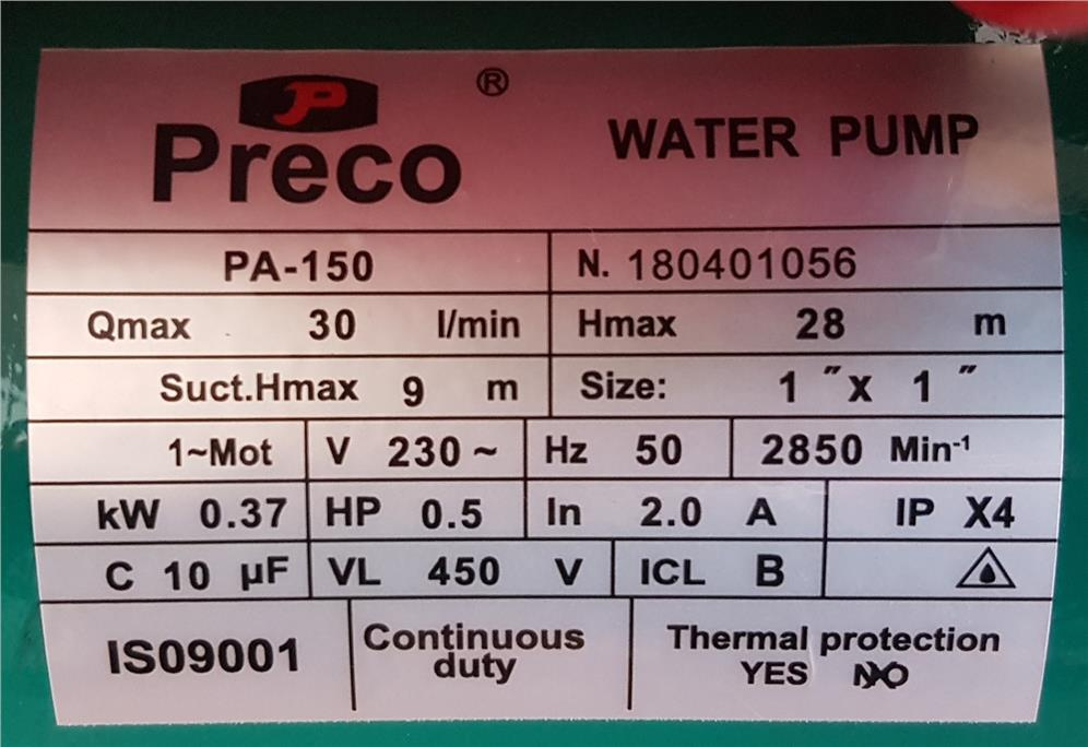 Preco PA150 Water Pump ID30545
