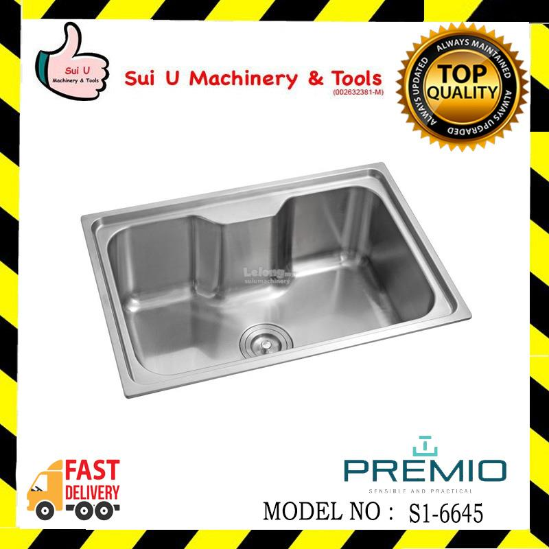 PREMIO S1-6645 Single Medium Stainless Steel Kitchen Sink 1.0MM (T)