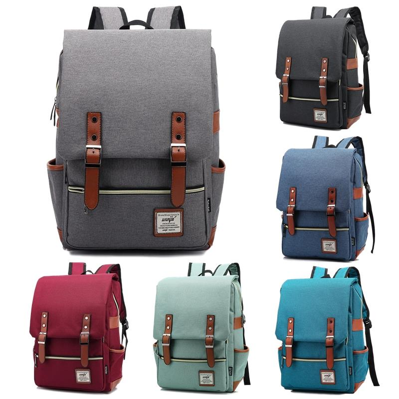 Premium Canvas Laptop Bag Korean Dual Belt Buckle Straps Men Backpack