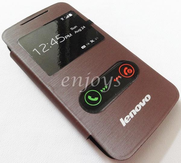 Premium Chrome BROWN S View Flip Cover Case Pouch Lenovo A390 *XPD