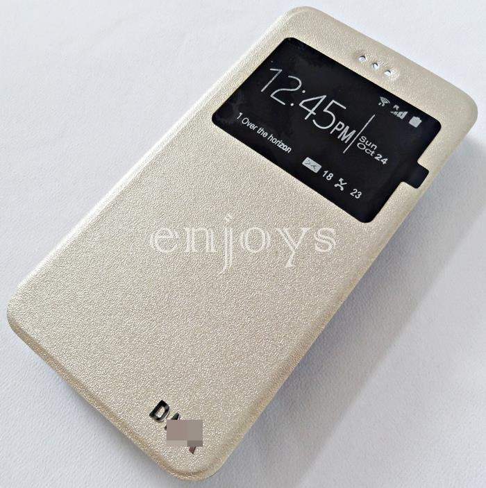 Premium GOLD S View Flip Cover Soft Case for Wiko Lenny 3 ~5.0""
