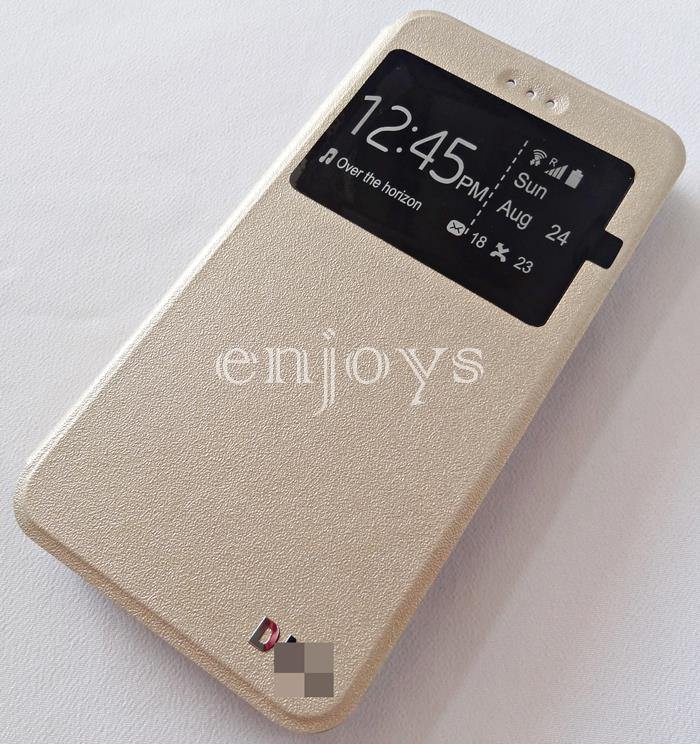 Premium GOLD S View Flip Soft Case Book Cover for Oppo A37 ~5.0""