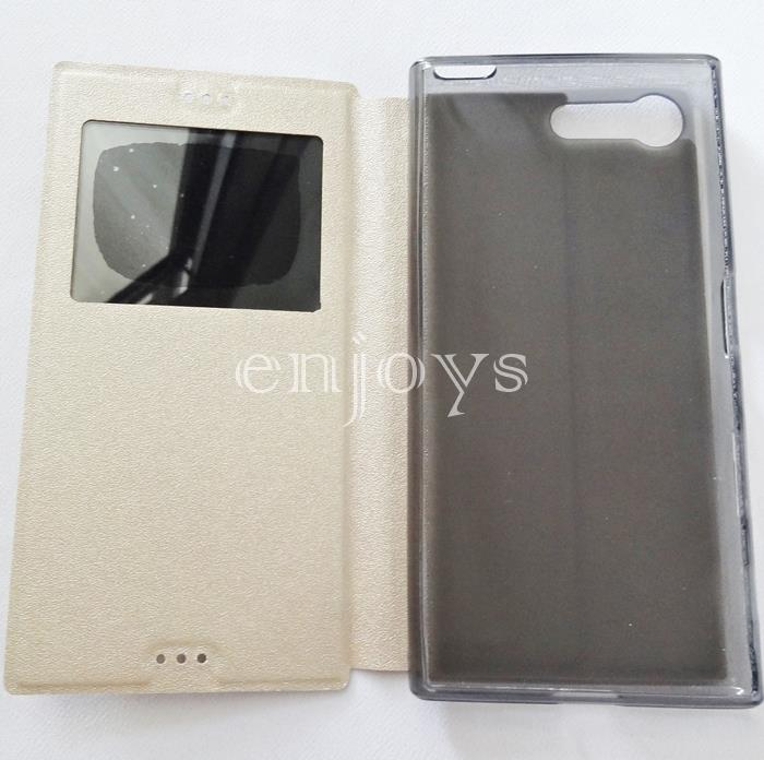 Premium GOLD S View Flip Soft Case Cover Sony Xperia X Compact ~4.6""