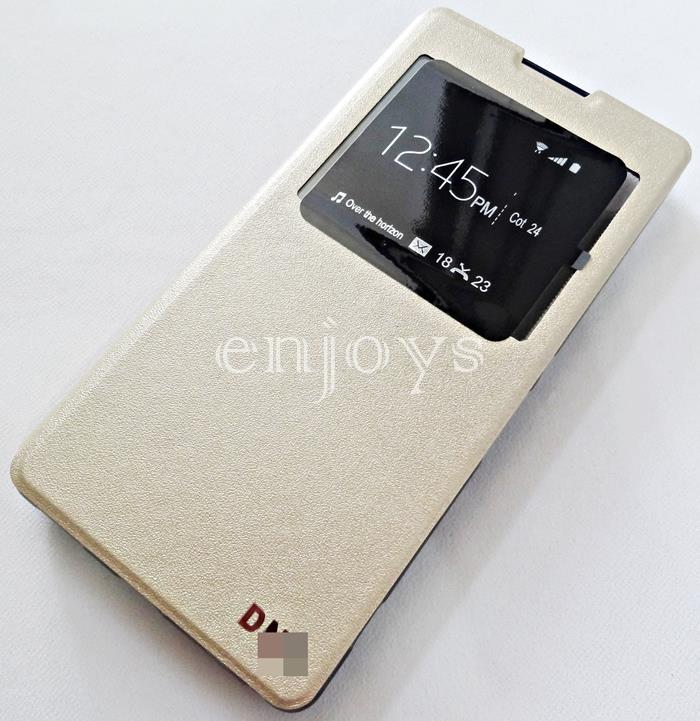 Premium GOLD S View Flip Soft Case Cover Sony Xperia XA Ultra ~6.0""