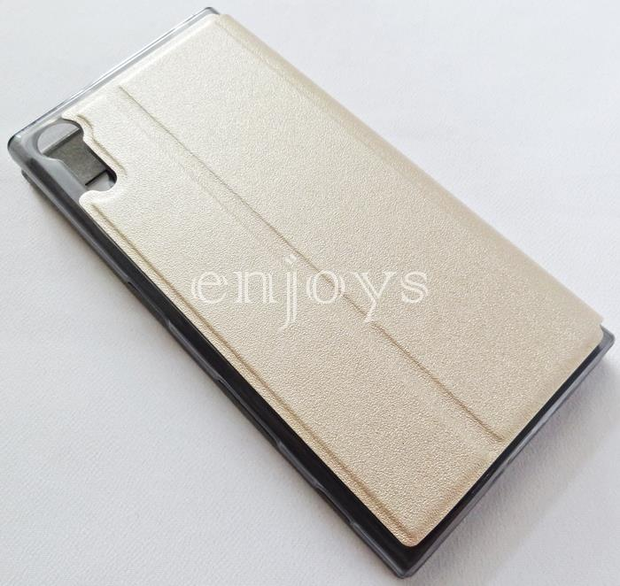 Premium GOLD S View Flip Soft Case Cover for Sony Xperia XZ ~5.2""