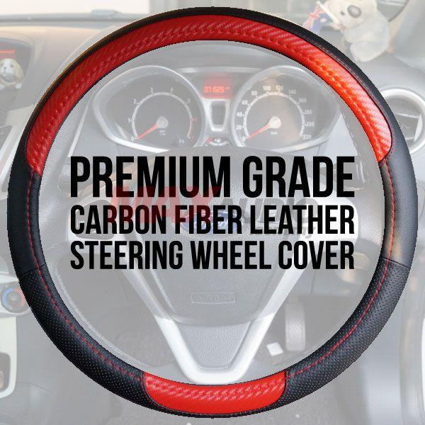Premium Quality Carbon Micro Fiber Leather 15' Steering Wheel Cover