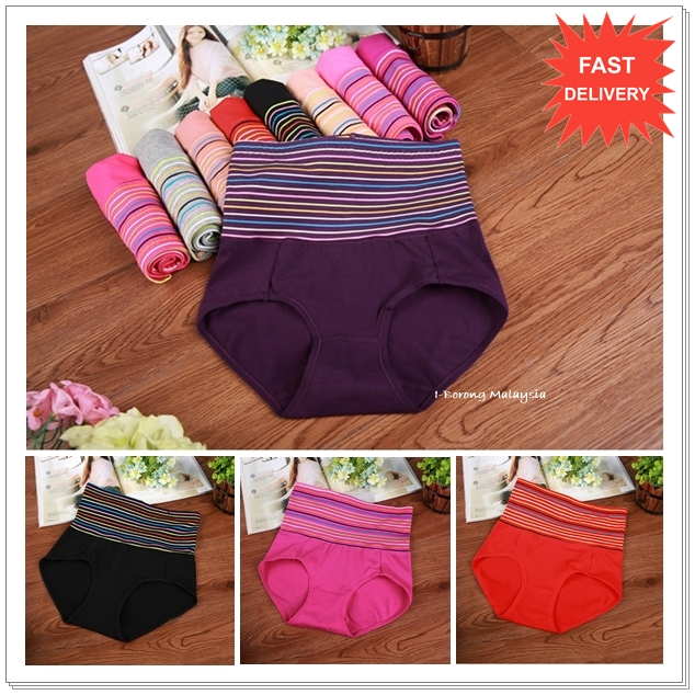 (PRESALE)Colour Stripe High Waist Slimming Panty / Panties / Underwear