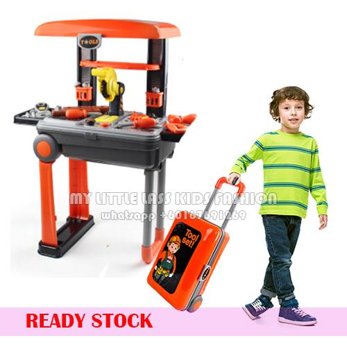 Pretend Play Engineer Tool Toy Set Working Table Suitcase 2 in 1