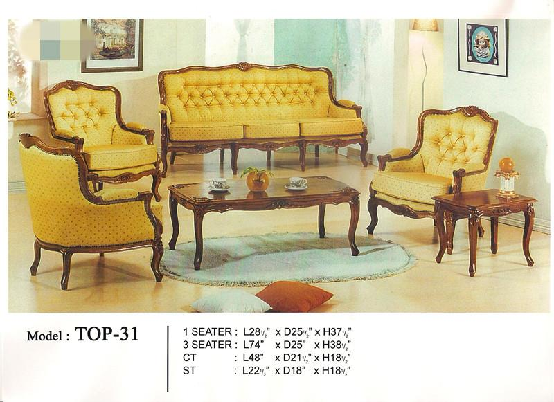 Low Price Installment Plan Wooden Sofa Set 1+1+3+TABLE Model - TOP31