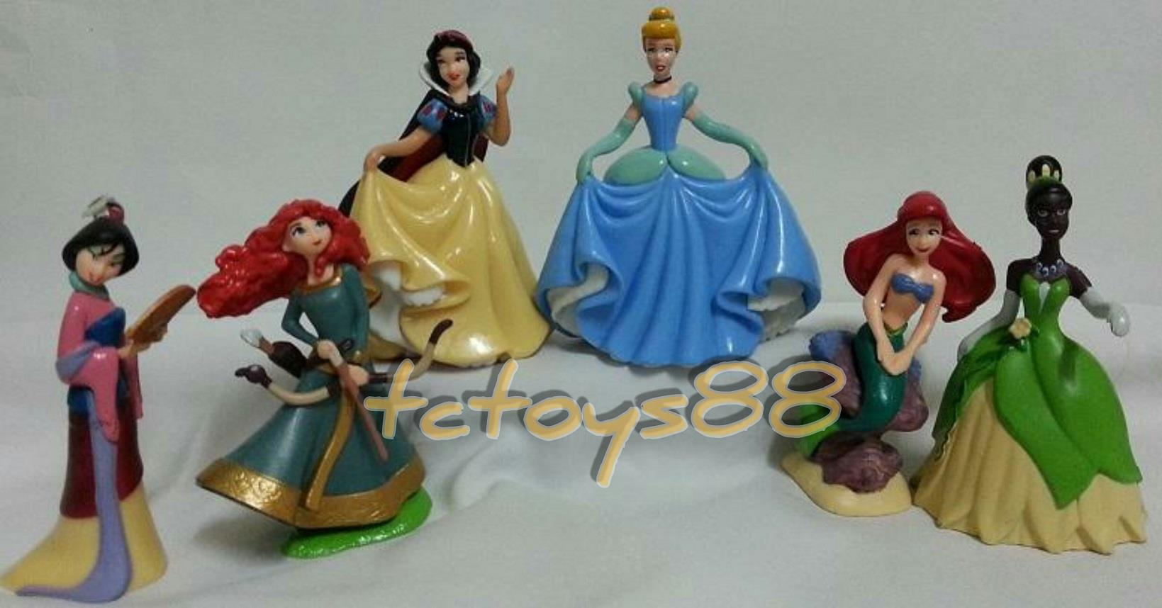 Princess. Cinderella. Snow White. Merida. Mulan. Figure. Cake Topper