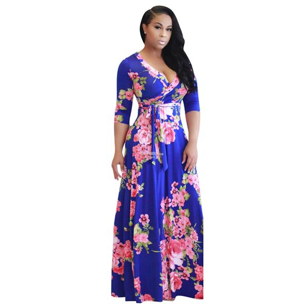 Printed V-neck women's lace-up dress with long skirt