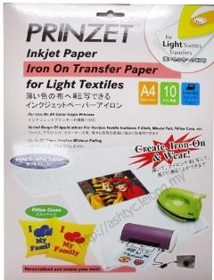 PRINZET A4 IRON ON TRANSFER PAPER FOR LIGHT TEXTILES (10 SHEETS)