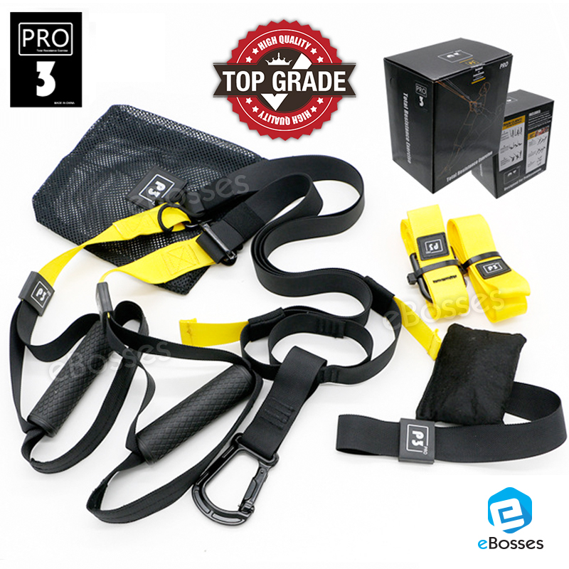 PRO3 Fitness Exercise Resistance Bands Fitness TRX Home Gym Full Body Workout