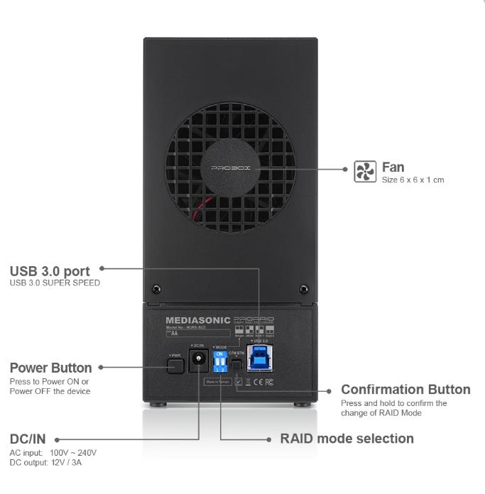 PROBOX 2 BAY USB3.0 RAID SATA ENCLOSURE (HUR5-SU3)