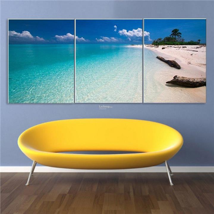 Product details of 3 Panels Modern Abstract Beach Poster Art Canvas Pr