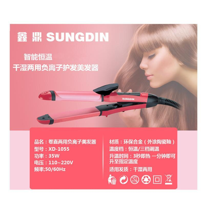 Professional 2 in 1 Hair Straightener Curler Iron Clip