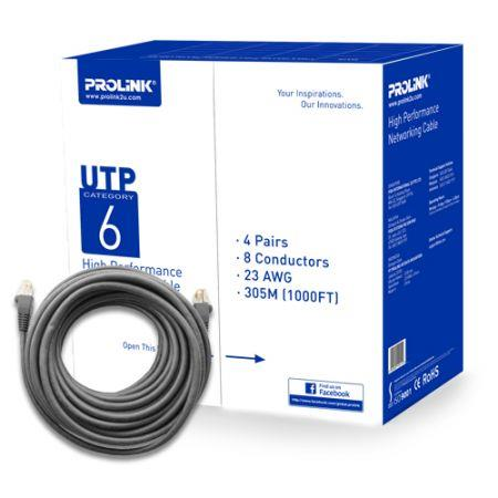 PROLINK CAT6 UTP NETWORK CABLE 305M 1BOX (GREY)