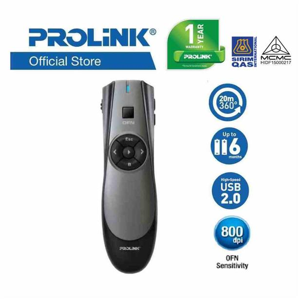 PROLiNK PWP102G 2.4 GHz Wireless Presenters with Air Mouse