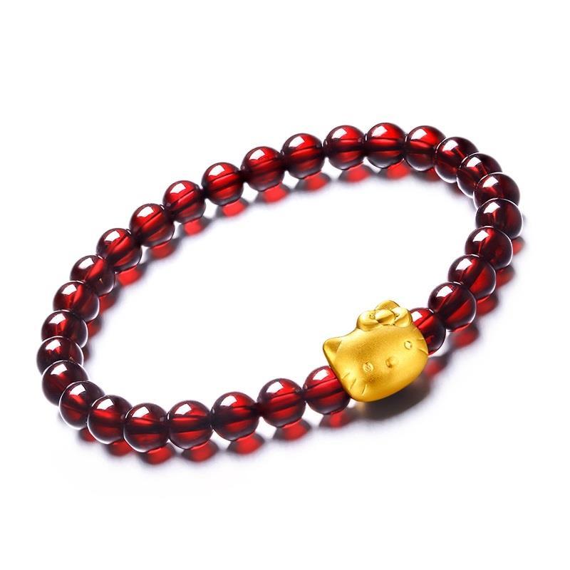 fa45b3e13 [PROMO] 24K Golden Hello Kitty Bracelet with Natural Garnet Beads Luck. ‹ ›