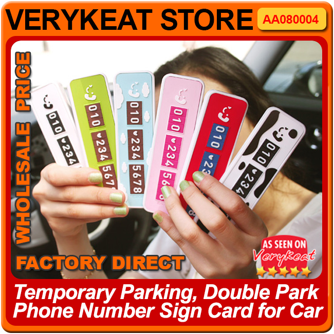 Promo!!! Temporary Parking, Double Park Phone Number Sign Card for Car