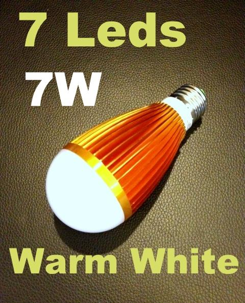 Promotion!! NEW 7W Led Bulb e27 Warm White 7 Leds 1162.1