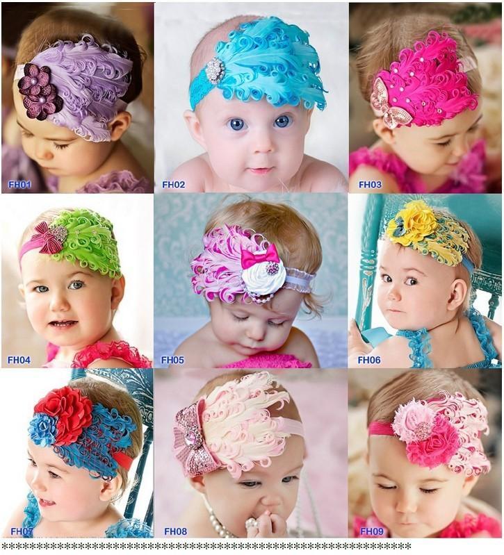 Baby Girl Feather Headband. ‹ ›