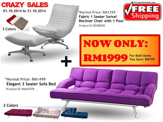 Promotion Package 1 Seater Swivel Recliner Chair AND Sofa Bed. u2039 u203a  sc 1 st  Lelong.my & Promotion Package 1 Seater Swivel Re (end 11/5/2018 2:15 PM)