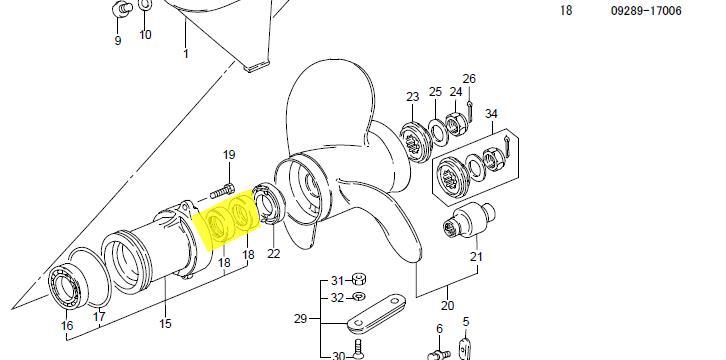Propeller Shaft Oil Seal for Suzuki 15HP Yamaha 15HP