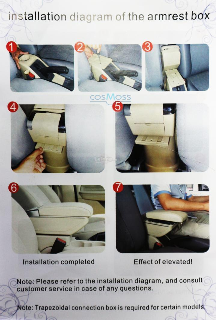 Proton Exora PVC Car Armrest Red Line With Drink Holder