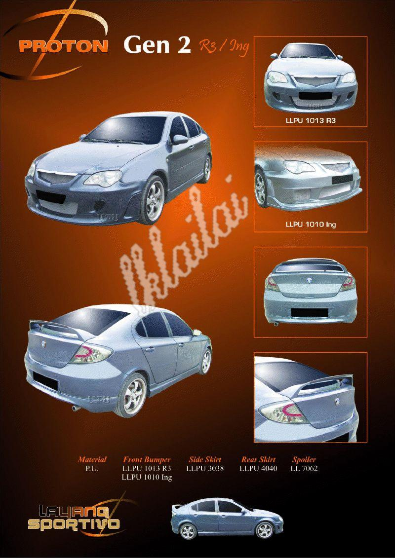 Proton Gen2 Full Set Body Kit [R3/ING Style] Free Reverse Camera