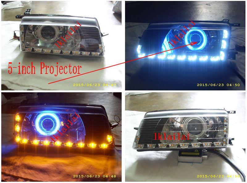 Proton Iswara CCFL Projector Head Lamp - 2-Function LED DRL R8 Black