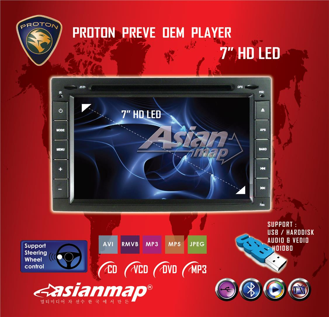 PROTON PREVE 7' WIN8 OEM DVD GPS PLAYER