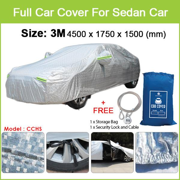 Proton Saga - Size 3M Full Car Cover Rain Dust Sunlight Protection