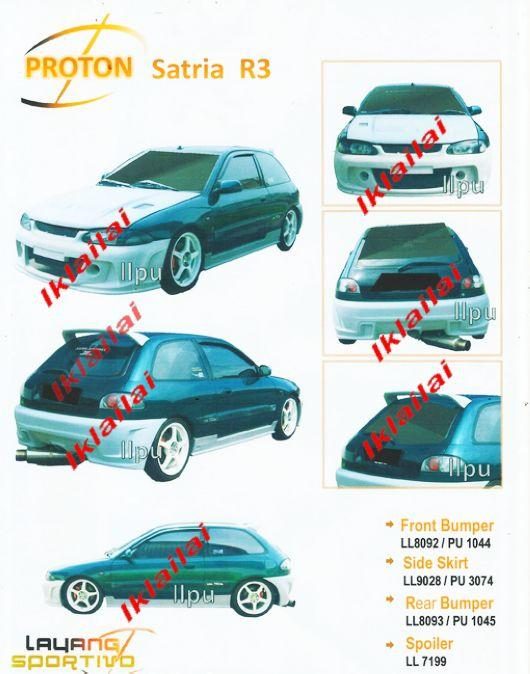 Proton Satria R3 Style Full Set Body Kit PU/Fiber [Bumper/Skirt]