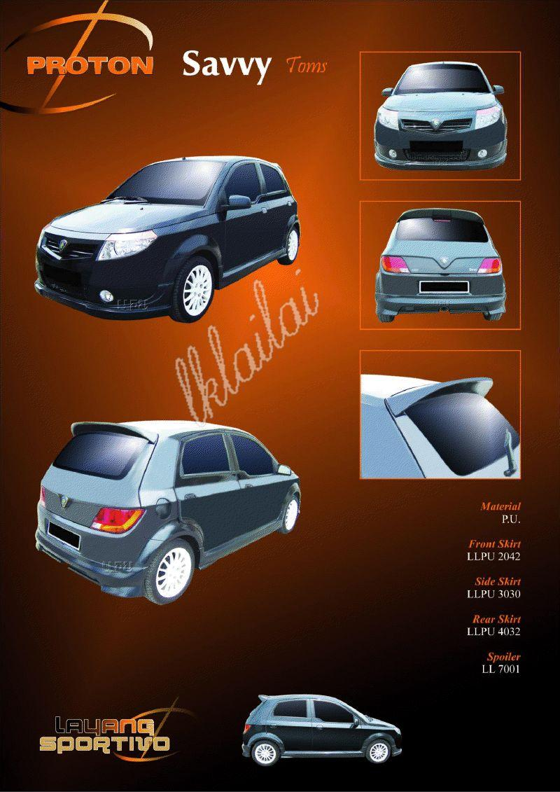 Proton Savvy Toms Style Full Set Body Kit PU Bodykits [Skirt+Spoiler]