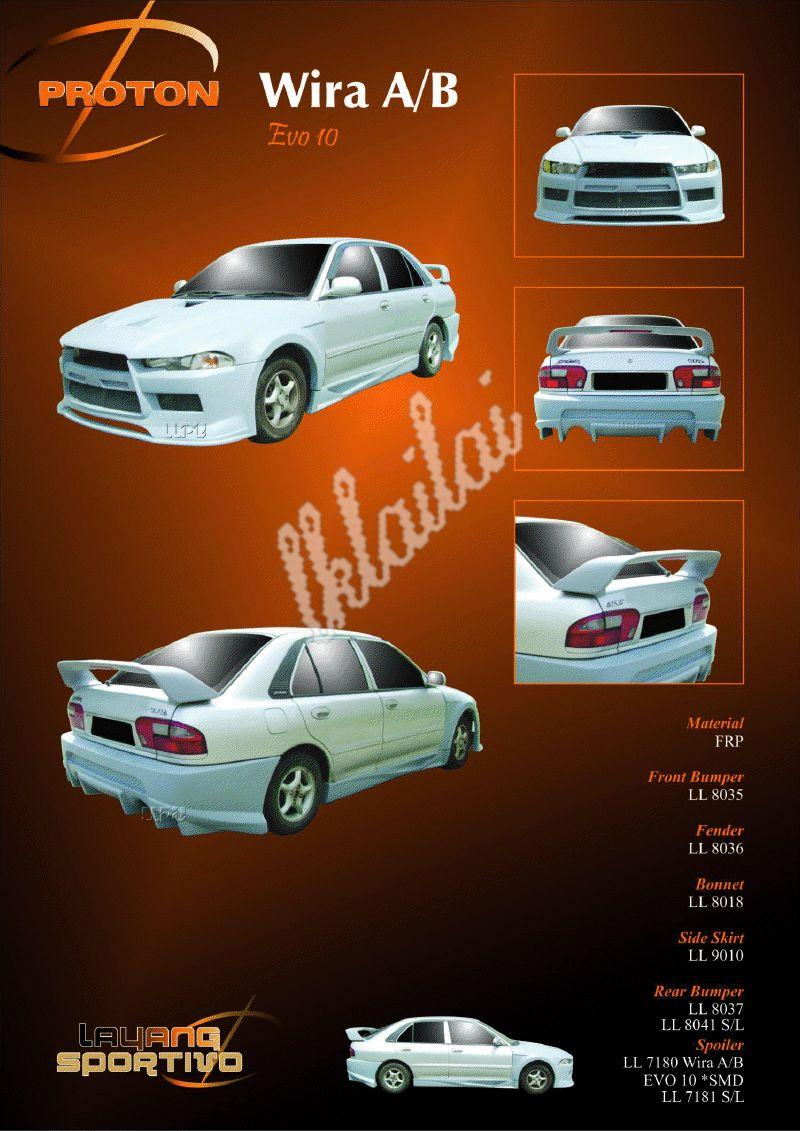 Proton Wira Aeroback / Saloon EVO 10 Style Body Kit + LED Tail Lamp