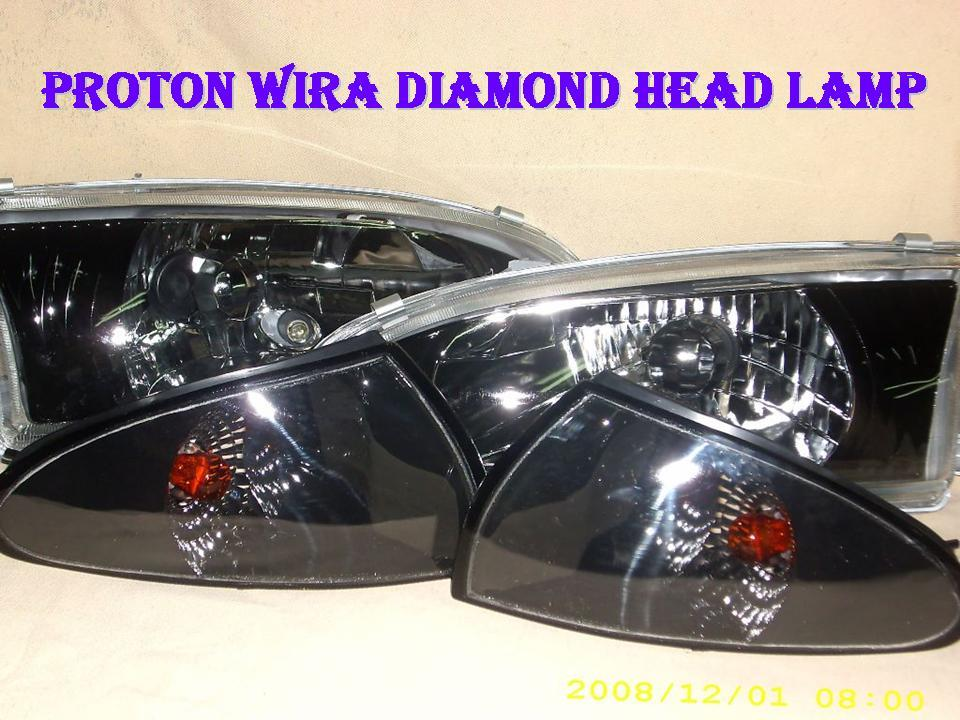 Proton Wira Crystal Black Head + Corner Lamp [per pair]