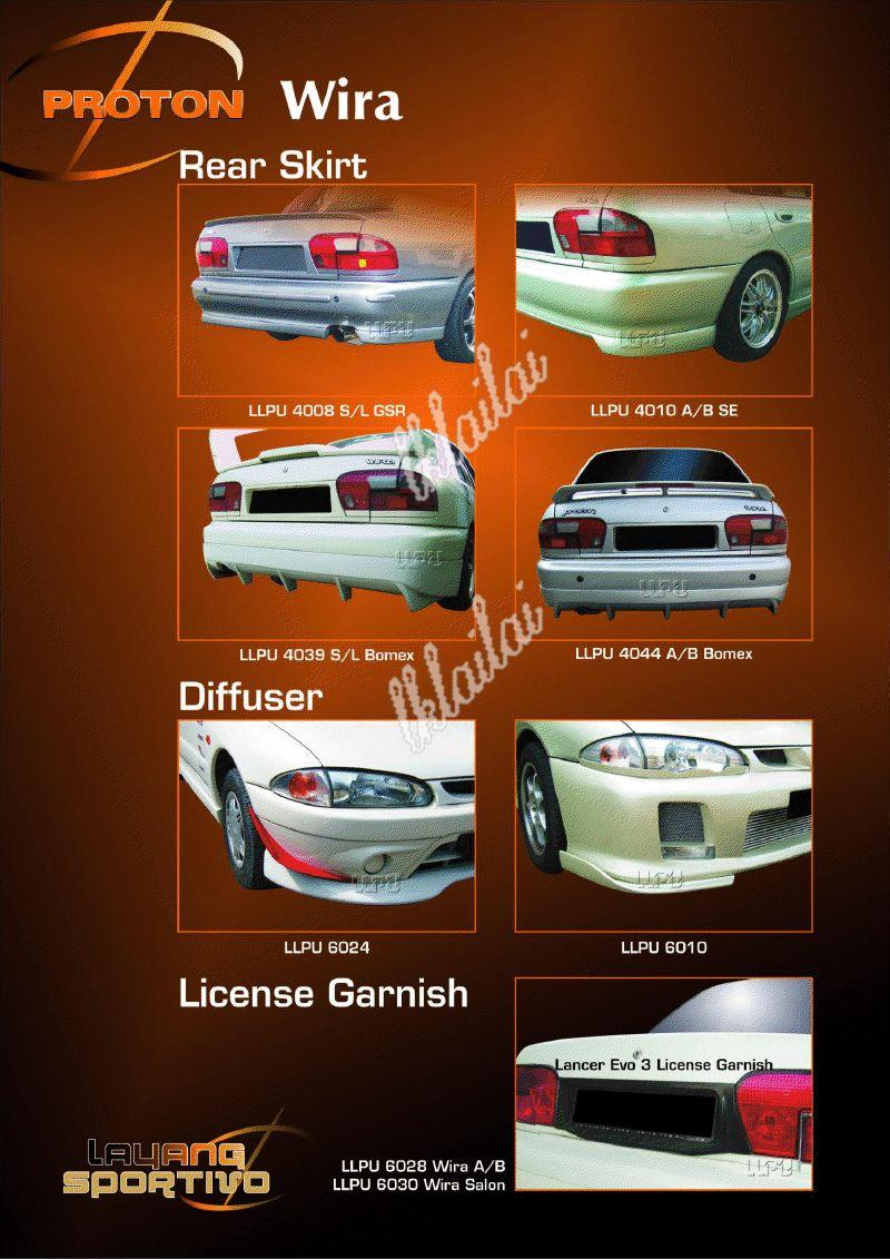 Proton Wira Rear Skirt / Licence Garnish / Diffuser - Body Kits