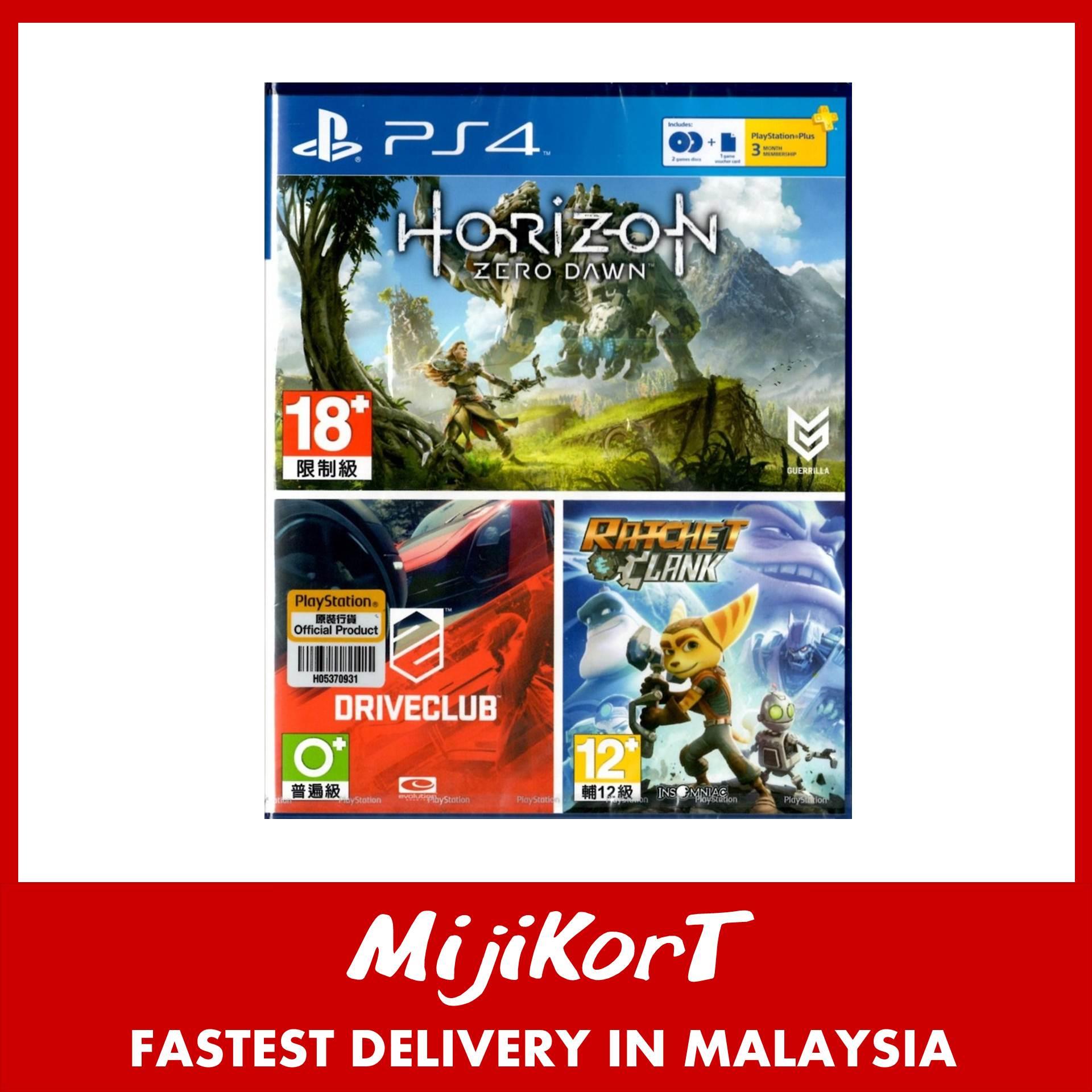 PS4 Horizon Zero Dawn Driveclub 2 Disc Used