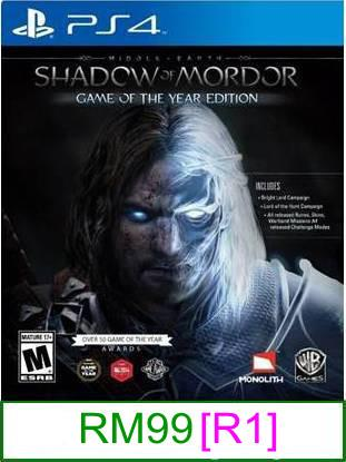 PS4 Middle-Earth Shadow of Mordor (GOTY) [R1] ★Brand New & Seale..